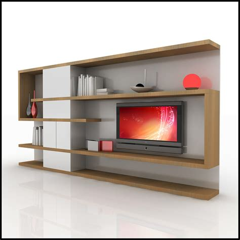 contemporary wall units 3d model of a modern tv wall
