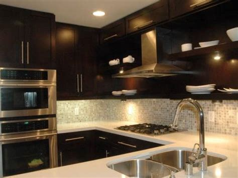 kitchen backsplash ideas for dark cabinets dark cabinet backsplash ideas home designs wallpapers