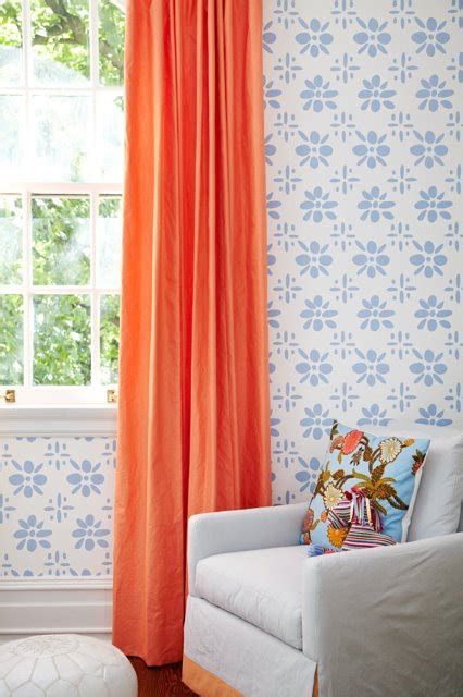 coral orange curtains orange curtains contemporary girl s room amie corley