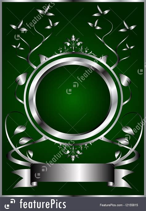 silver  green floral background