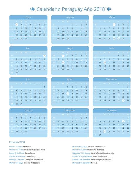 Paraguay Calend 2018 Calendario Paraguay A 241 O 2018 Feriados