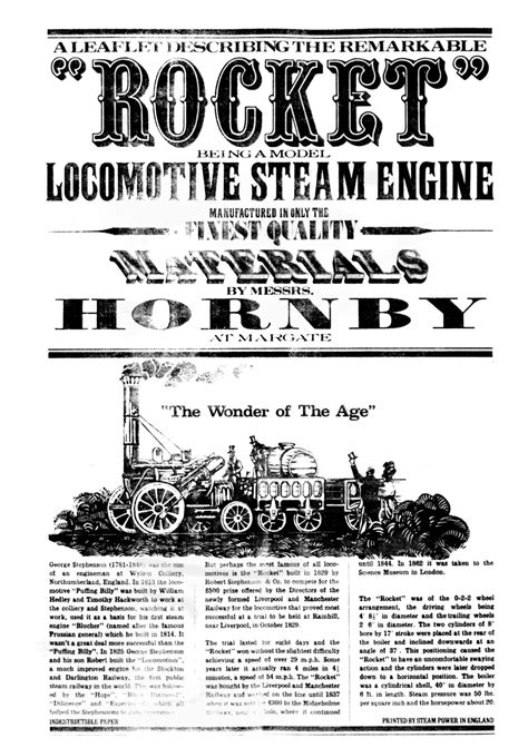 Stephenson's Rocket, steam powered (Hornby G100)   The