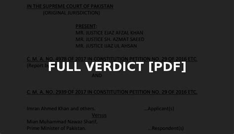bench trial verdict full text of panama case verdict released by supreme court