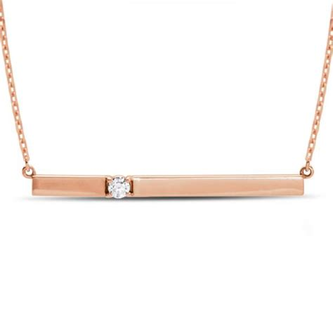 horizontal bar necklace with accent 14k gold
