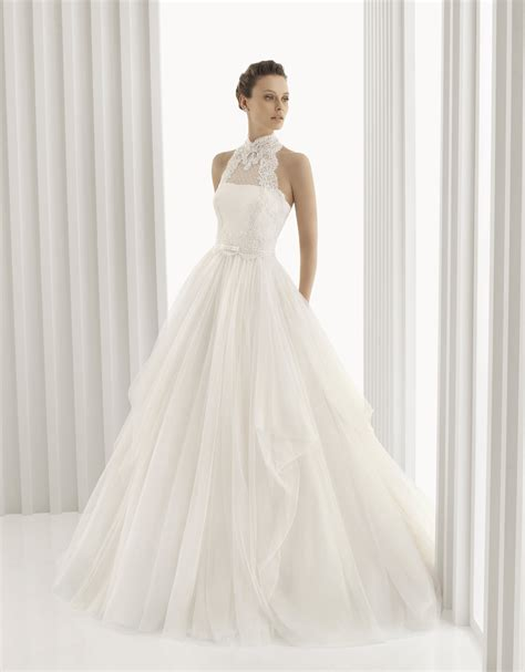 romantic full a line rosa bridal gown with high neck