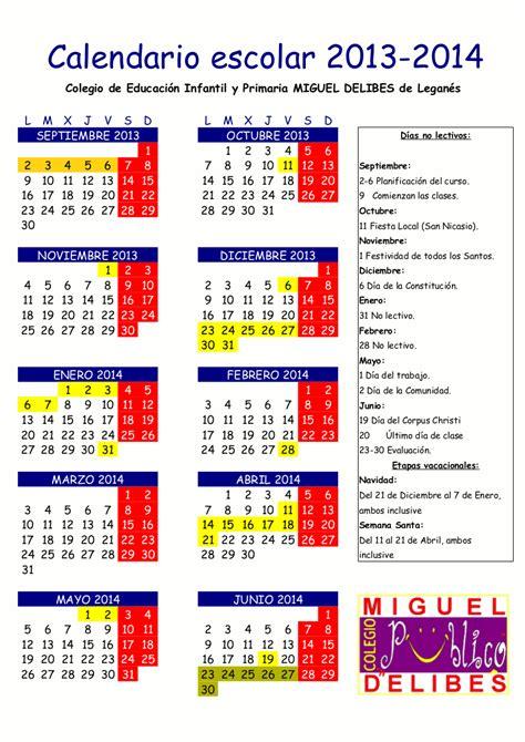 Calendario Escolar Madrid 2013 A C P Miguel Delibes Calendario Escolar Para El