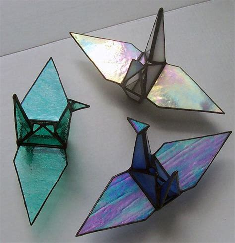 Origami Peace Cranes - stained glass origami sadakos peace crane tsuru symbol