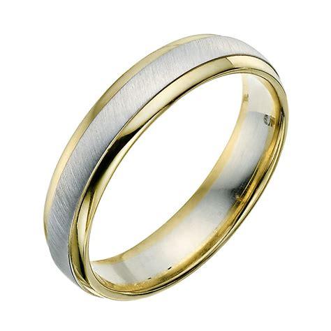 9ct yellow white gold 5mm wedding ring ernest jones