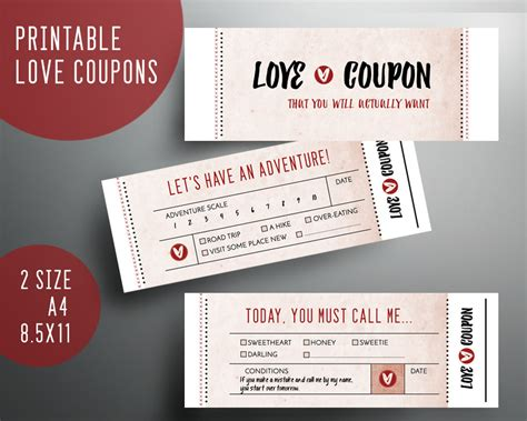 printable coupon template for husband boyfriend gift valentines day funny love coupon book husband
