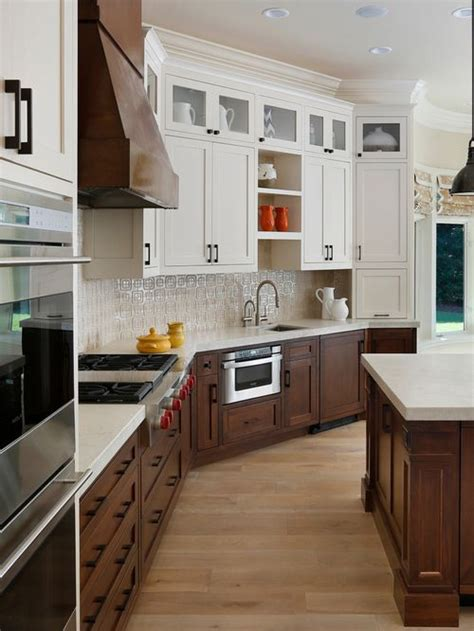 combination stained  painted cabinets kitchen google
