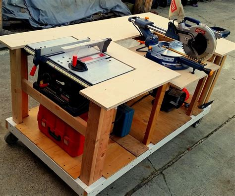 build miter saw bench mobile workbench with built in table miter saws 8 steps