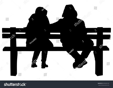 concept of bar bench relation couple on bench two lovers sitting stock vector 395620126