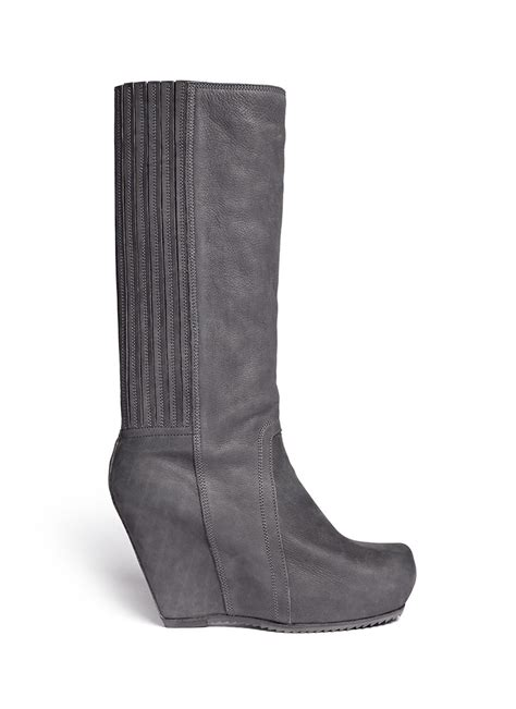 rick owens wedge platform boots in gray grey lyst