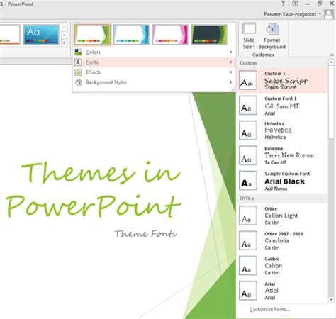 different themes for ppt theme fonts in powerpoint 2013