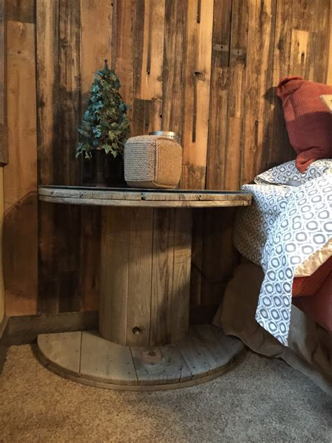 wooden electrical spool table turned   bedside