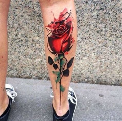 50 elegant flowers tattoos on leg