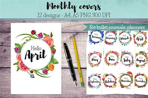 printable monthly journal covers monthly covers for bullet journals and planners month entry
