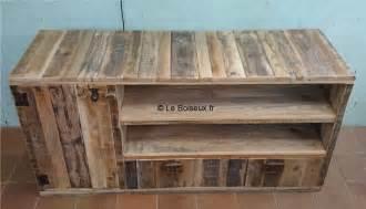 meuble bas bois de palettes sur mesure plateaux de