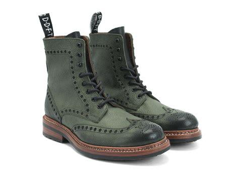 fluevog boots fluevog shoes shop newell lined green brogued