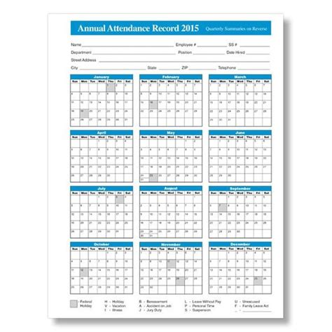 employee attendance calendar template free printable attendance calendars search engine