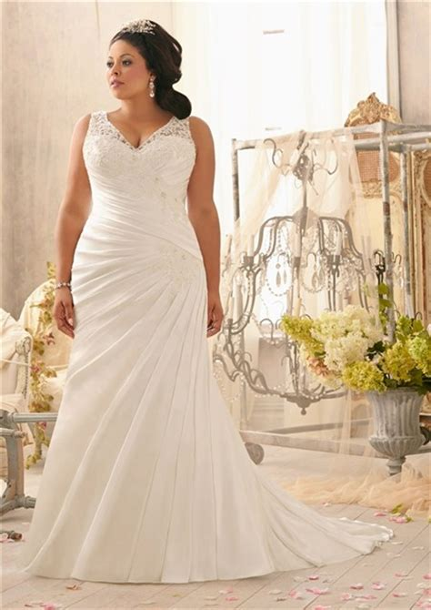 mermaid wedding dresses plus size mermaid v neck lace satin ruched plus size wedding dress