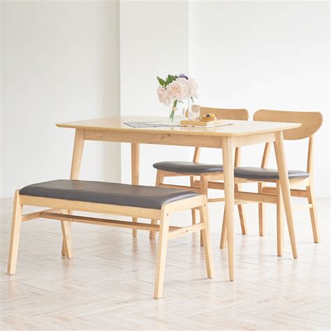 Dining Table And Bench Set Singapore Benise Scandinavian Compact 4 Seater Dining Set 1 1200