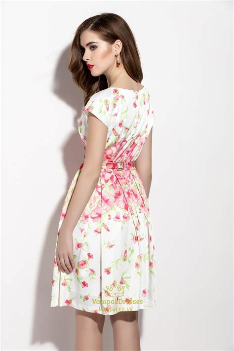 Print Sleeve Dress floral print cap sleeve summer dress with bow belt