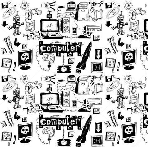 doodle free pc koncepcja ręcznie rysowane laptopa zbiory szpieg sprzęt