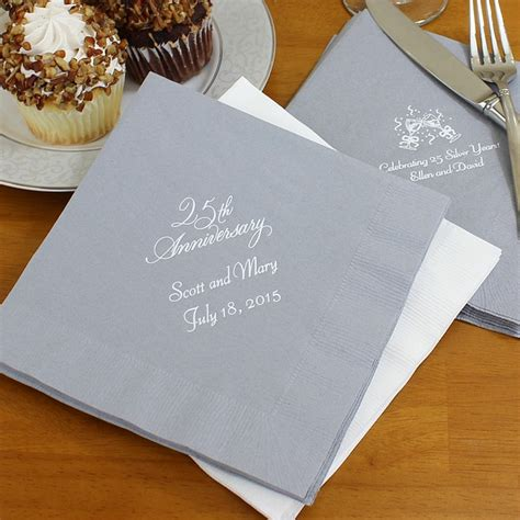 Wedding Anniversary Napkins by Custom Printed 25th Wedding Anniversary Luncheon Napkins