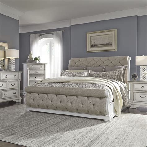 liberty  br abbey park bedroom set  upholstered