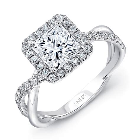 uneek princess halo 18k white gold engagement ring