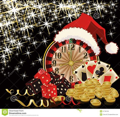 christmas casino and happy new year card stock vector