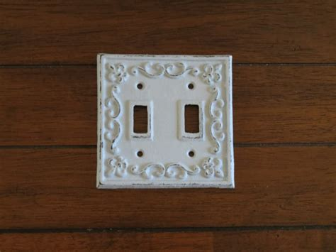 double light switch plate shabby chic switchplate cast iron