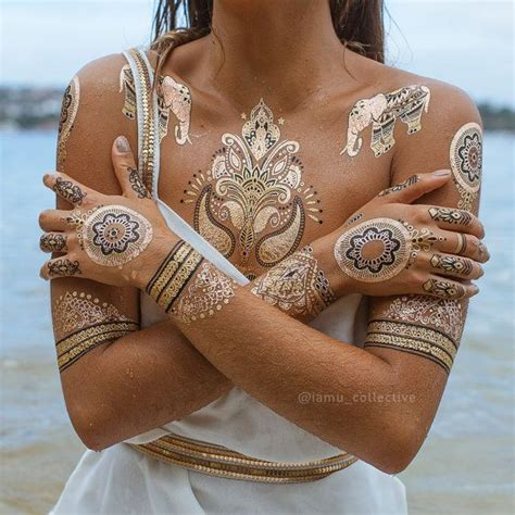 gold henna temporary tattoo 25 best metallic temporary ideas on