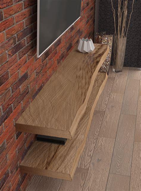 mensole legno massello doppia mensola sospesa in legno porta tv leroy xlab