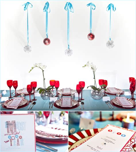 red aqua teal turqoise white holiday christmas table