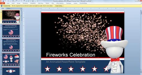 Animated Fireworks Powerpoint Template For Celebration Celebration Of Powerpoint Template