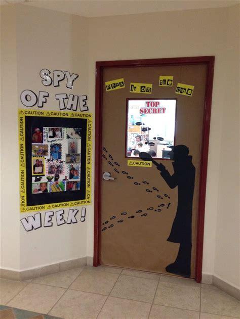 newspaper themed classroom great spy door decoration classtheme vbs pinterest