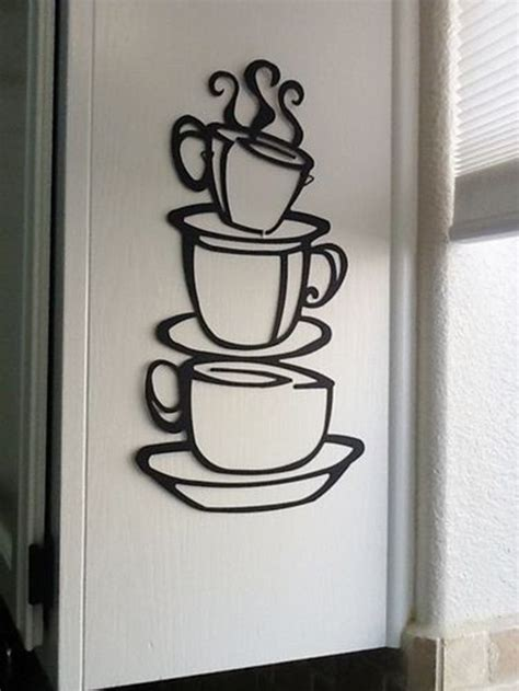 coffee home decor coffee house cup java silhouette wall art metal mug