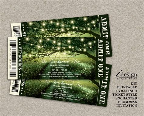 Enchanted Prom Invitation Printable Fairytale Forest Prom Ticket Style Invitations For Any Prom Ticket Template Free