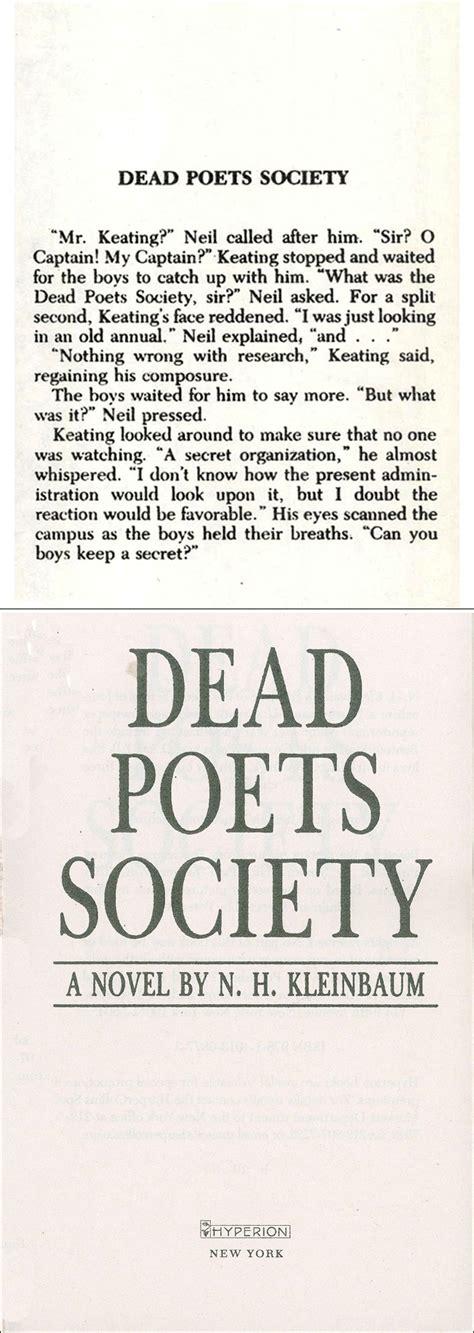 Novel Dead Poets Society dead poets society daum 책