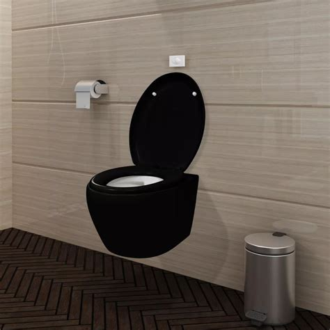 wall hung toilet with tank vidaxl co uk wall hung toilet black soft close mechanism