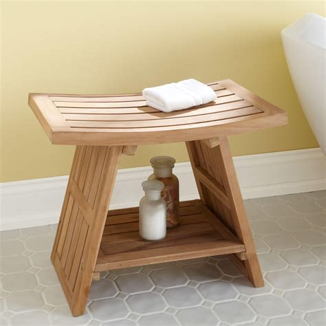 Bathroom Stools For Showers Large Teak Asian Style Shower Stool Bathroom