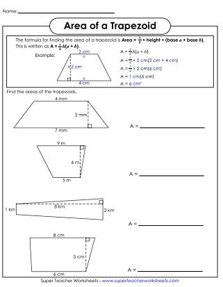 Printable Area Of Page | area of trapezoids printable math pinterest area