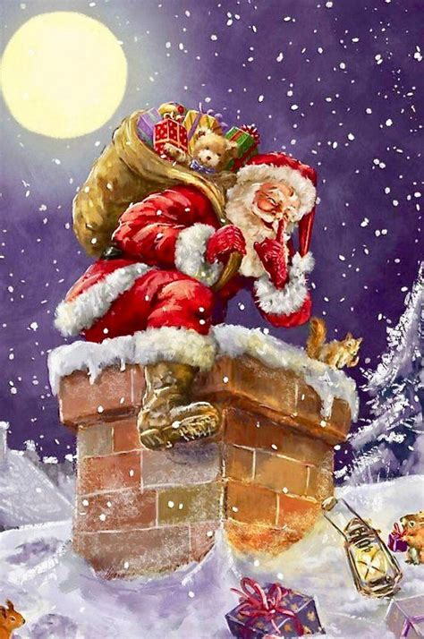 vintage  santa claus chimney graphic image art fabric christmas prints christmas paintings