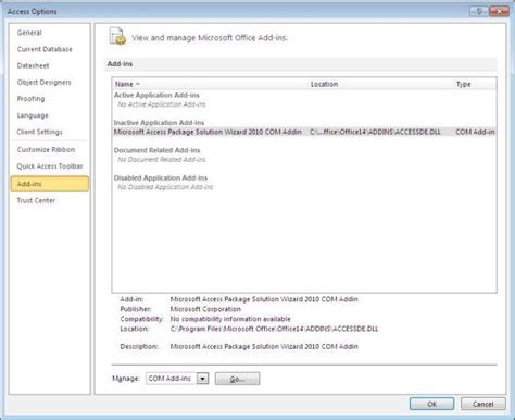 Ms Access Developers by Microsoft Access 2010 Package And Deploy Wizard Or Other Add Ins Is Not Available After I