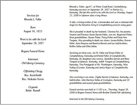 template funeral program funeral program template 7 back