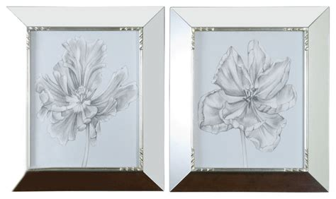 Mirrored Wall Sconces For Candles Grace Feyock Silver Blue Tulips In Mirrored Framed Wall