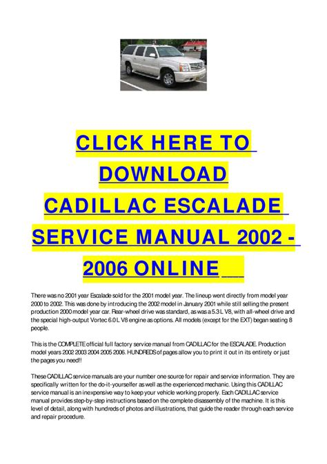 service repair manual free download 2006 cadillac escalade ext user handbook cadillac escalade service manual 2002 2006 online by cycle soft issuu