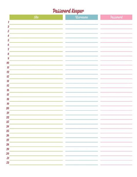 free printable password sheet templates password sheet template related keywords suggestions